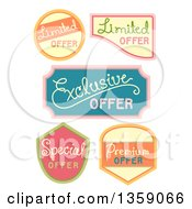 Clipart Of Retail Offer Labels With Text Royalty Free Vector Illustration