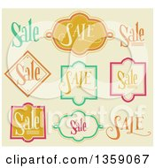 Clipart Of Retail Sale Labels On Beige Royalty Free Vector Illustration