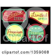 Clipart Of Retail Sale Labels With Text On Black Royalty Free Vector Illustration