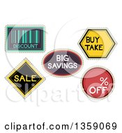 Clipart Of Retail Sale Labels With Text Royalty Free Vector Illustration
