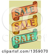 Clipart Of Vintage Retail Sale Ribbon Banners Over Green Royalty Free Vector Illustration