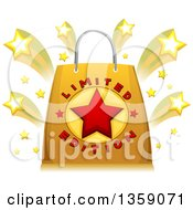 Clipart Of A Limited Edition Retail Shopping Bag With Shooting Stars Royalty Free Vector Illustration