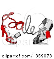 Clipart Of A Sketched High Heel Shoe And Sneaker With Sale Text And Tags Royalty Free Vector Illustration