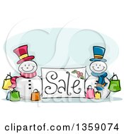 Clipart Of A Sketched Sale Sign With Snowmen And Shopping Bags Royalty Free Vector Illustration