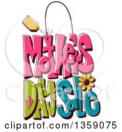 Clipart Of A Cartoon Mothers Day Sales Design With A Flower Royalty Free Vector Illustration
