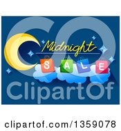 Clipart Of A Midnight Sale Design With A Crescent Moon And Shopping Bags On Blue Royalty Free Vector Illustration
