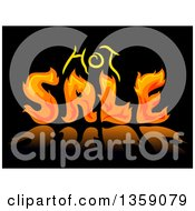 Clipart Of A Fiery Hot Sale Design On Reflective Black Royalty Free Vector Illustration