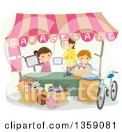 Clipart Of A Happy Caucasian Mother And Children Setting Up A Garage Sale Booth Royalty Free Vector Illustration by BNP Design Studio