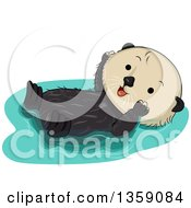 Clipart Of A Cute Happy Sea Otter Floating On His Back Royalty Free Vector Illustration