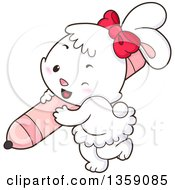 Clipart Of A Cute White Female Bunny Rabbit Wearing A Red Bow And Carrying A Pink Marker Royalty Free Vector Illustration