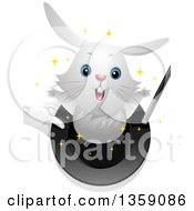 Clipart Of A Cute White Bunny Rabbit Hopping Out Of A Magicians Hat Royalty Free Vector Illustration by BNP Design Studio