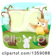 Clipart Of A Teacher Owl Instructing A Squirrel Rabbit And Snail Royalty Free Vector Illustration by BNP Design Studio