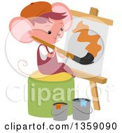 Clipart Of A Mouse Art Student Painting A Canvas Royalty Free Vector Illustration