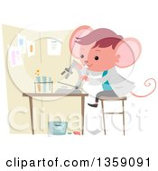 Clipart Of A Mouse Student Using A Microscope In A Science Lab Royalty Free Vector Illustration