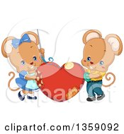 Clipart Of A Cute Mouse Couple Sewing A Heart Cushion Royalty Free Vector Illustration