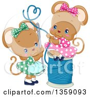 Clipart Of Cute Female Mice Threading A Needle With A Heart Loop Royalty Free Vector Illustration
