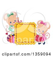 Clipart Of Cute Female Mice Sewing A Square Royalty Free Vector Illustration
