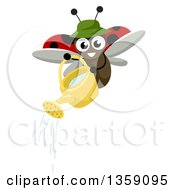 Clipart Of A Gardener Lady Bug Using A Watering Can Royalty Free Vector Illustration