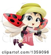 Clipart Of A Gardening Ladybug Flying With A Potted Flower And Trowel Royalty Free Vector Illustration by BNP Design Studio