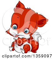 Clipart Of A Cute Baby Fox In A Diaper Licking His Paw Royalty Free Vector Illustration by BNP Design Studio