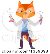 Clipart Of A Fox Scientist Holding Bubbly Chemicals Royalty Free Vector Illustration