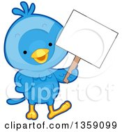 Clipart Of A Happy Blue Bird Holding A Blank Sign Royalty Free Vector Illustration