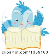 Clipart Of A Cute Bluebird Waving Over An Open Book Royalty Free Vector Illustration