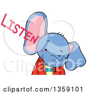 Clipart Of A Cute Elephant Boy With Listen Text Royalty Free Vector Illustration by BNP Design Studio
