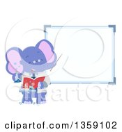 Clipart Of A Purple Elephant Science Teacher By A White Board Royalty Free Vector Illustration