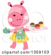 Clipart Of A Happy Pink Hippo Baker With A Tray Of Muffins Royalty Free Vector Illustration by BNP Design Studio