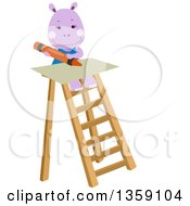 Clipart Of A Happy Purple Hippo Using A Craon On Top Of A Ladder Royalty Free Vector Illustration