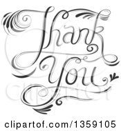 Clipart Of Black And White Fancy Calligraphic Thank You Text Royalty Free Vector Illustration