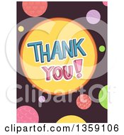 Clipart Of Thank You Text And Colorful Dots On Brown Royalty Free Vector Illustration