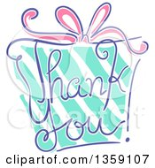 Clipart Of A Sketched Gift With Thank You Text Royalty Free Vector Illustration