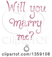 Clipart Of Soft Purple Will You Marry Me Text Over A Diamond Ring Royalty Free Vector Illustration