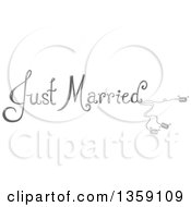 Clipart Of Grayscale Just Married Text With Cans Royalty Free Vector Illustration by BNP Design Studio