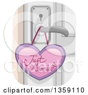 Clipart Of A Just Married Heart Tag On A Door Knob Royalty Free Vector Illustration