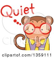 Clipart Of A Bespectacled Monkey Teacher Shushing With Quiet Text Royalty Free Vector Illustration