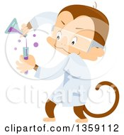 Clipart Of A Scientist Monkey Mixing Chemicals Royalty Free Vector Illustration