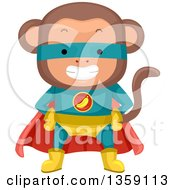 Clipart Of A Grinning Monkey Super Hero Royalty Free Vector Illustration