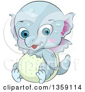 Clipart Of A Cute Blue Baby Dragon Hatching From An Egg Royalty Free Vector Illustration by BNP Design Studio