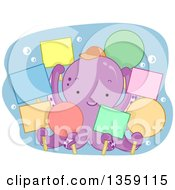 Cute Purple Octopus Holding Colorful Blank Signs