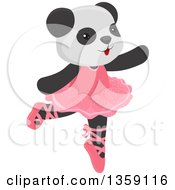 Clipart Of A Cute Dancing Panda Ballerina Royalty Free Vector Illustration by BNP Design Studio
