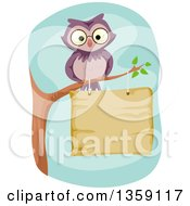 Clipart Of A Purple Owl Perched On A Branch Over A Wood Sign Royalty Free Vector Illustration