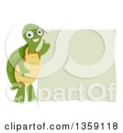 Clipart Of A Bespectacled Tortoise By A Blank Sign Royalty Free Vector Illustration