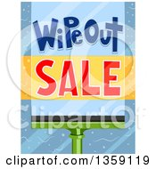 Clipart Of A Wipeout Sale With A Squeegee On A Window Royalty Free Vector Illustration