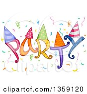 Clipart Of Colorful Party Text With Hats And Confetti Royalty Free Vector Illustration by BNP Design Studio