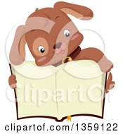 Clipart Of A Cute Brown Puppy Dog Over An Open Book Royalty Free Vector Illustration