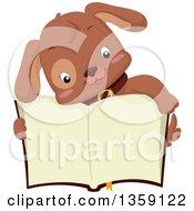 Cute Brown Puppy Dog Over An Open Book