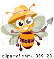 Clipart Of A Happy Gardener Bee Holding A Trowel And Wearing A Hat Royalty Free Vector Illustration